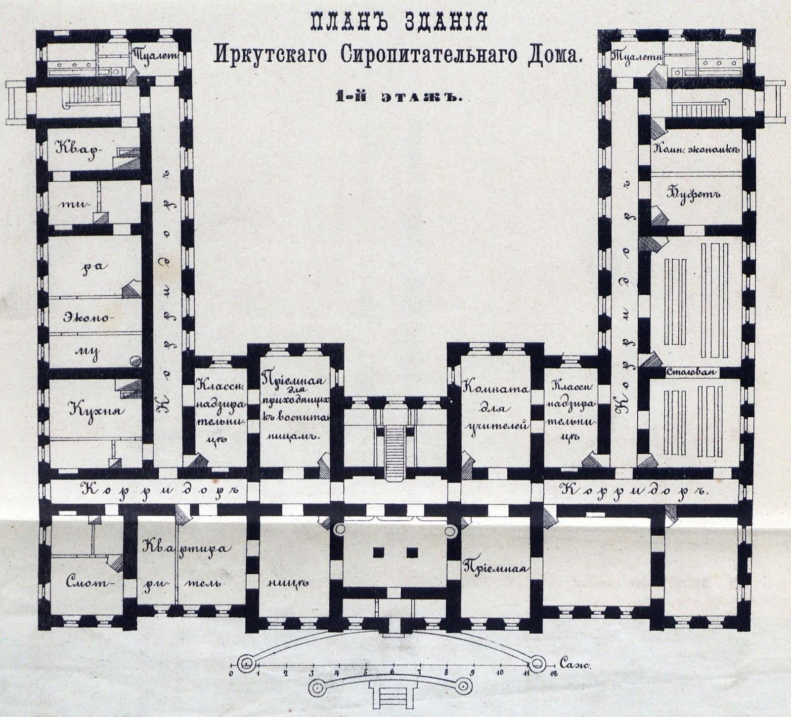 1888. План здания Иркутского Сиропитательного дома  1-й этаж