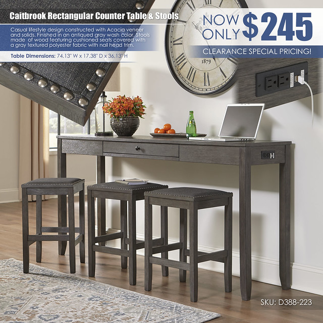 Caitbrook Counter Table & 3 Stools_D388-223