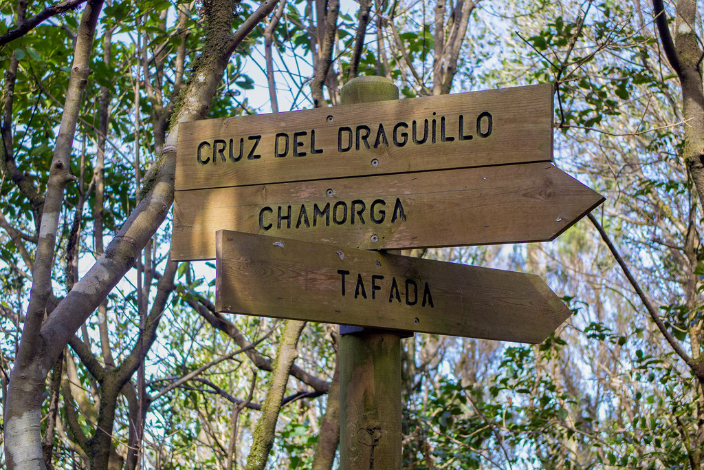 Señales de senderos en la Cruz del Draguillo