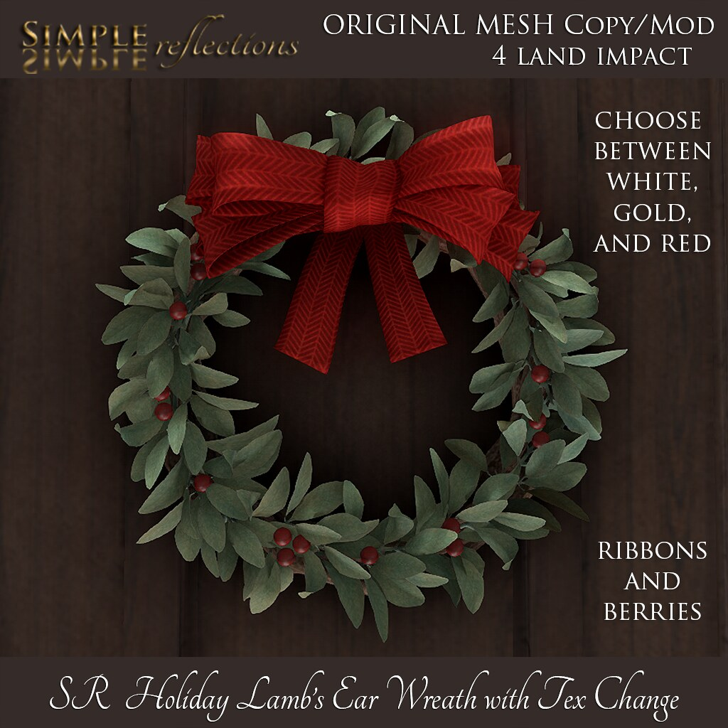 SR Holiday Lambs Ear Wreath – The Gala Fair