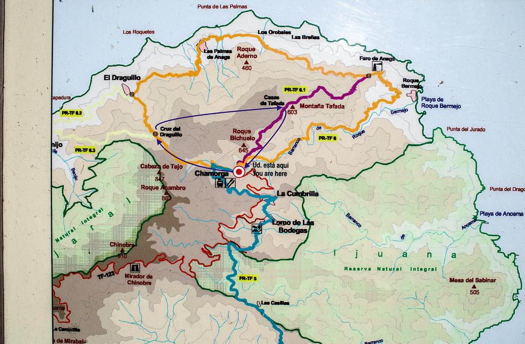 Mapa el sendero circular desde Chamorga