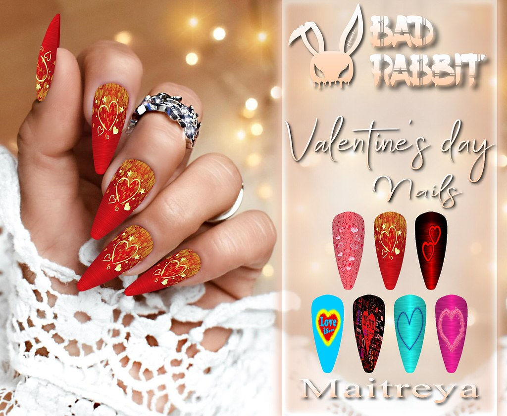 .:Bad Rabbit:. Valentine's day Nails
