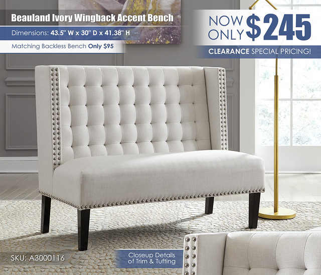 Beauland Ivory Wingback Accent Bench_A3000116