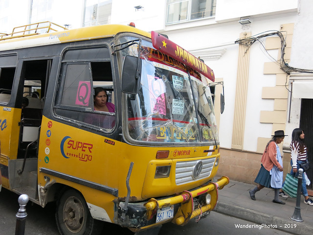 Front of a yellow local bus - Sucre Chuquisaca Bolivia