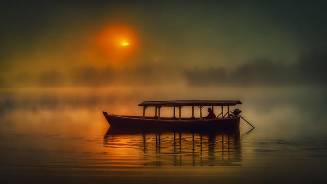 pangalengan fog and sunrise