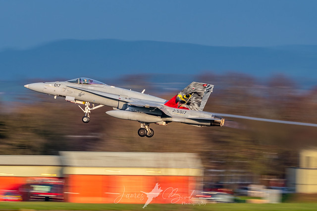 Swiss F/A-18C Hornet J-5017 with the special Falcon tail lifts from RAF Leeming
