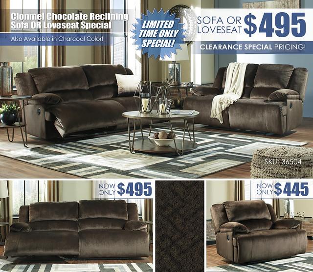 Clonmel Chocolate Reclining Sofa OR Loveseat_36504-81-86-T395_Update