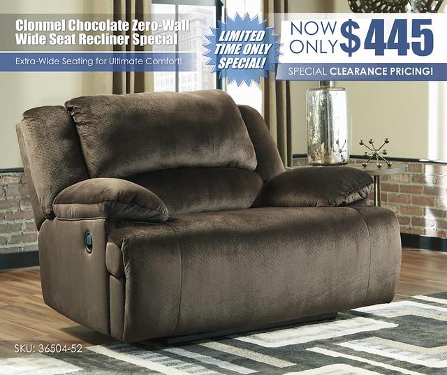 Clonmel Chocolate Zero-Wall Wide Seat Recliner_36504-52_Update