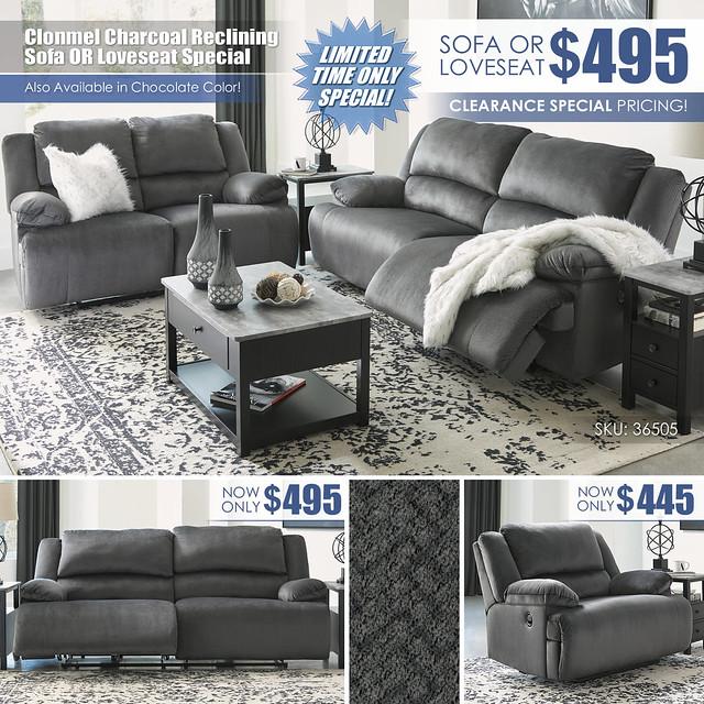 Clonmel Charcoal_Reclining Sofa OR Loveseat_36505-47_Update