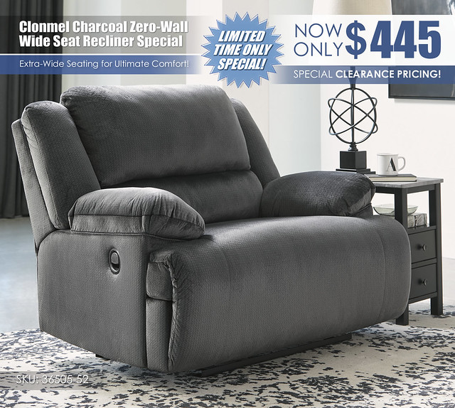 Clonmel Charcoal Wide Seat Recliner_36505-52_Update