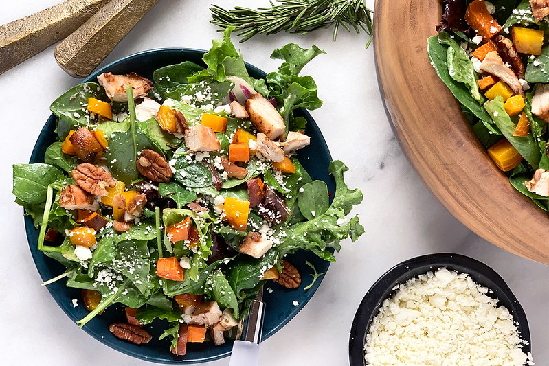 Winter Salad with Chicken, Root Veggies & Champagne Vinaigrette