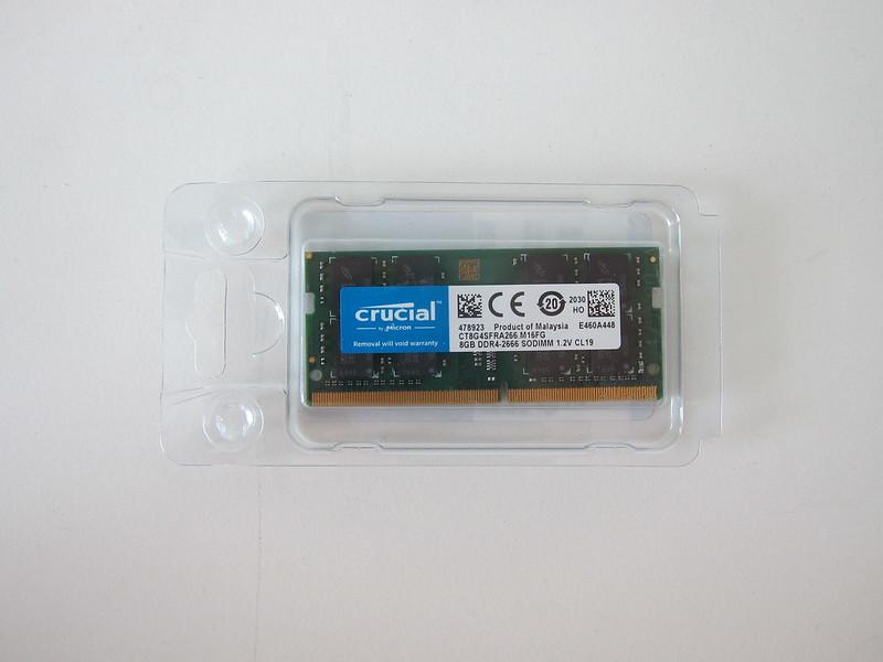 Crucial 8GB DDR4 2666 (PC4-21300) SODIMM 260-Pin RAM - Packaging Back