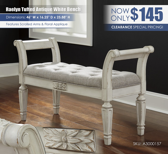 Realyn Tufted Antique White Bench_A3000157