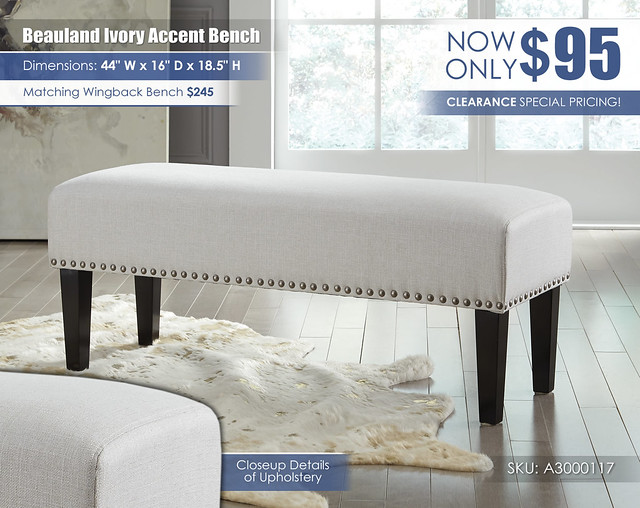 Beauland Ivory Accent Bench_A3000117