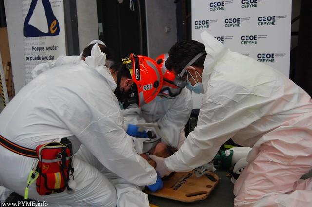 Instantánea del simulacro de emergencia sanitaria en el ámbito empresarial impulsada por el Plan Actúa de Emergencias Urbanas de CEOE-CEPYME Salamanca.