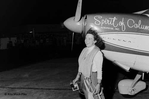 Jerrie with her life vest, round-the-world flight. From Move Over Amelia, That's My Grandma's Place in History – Celebrating the First Woman to Fly Around the World