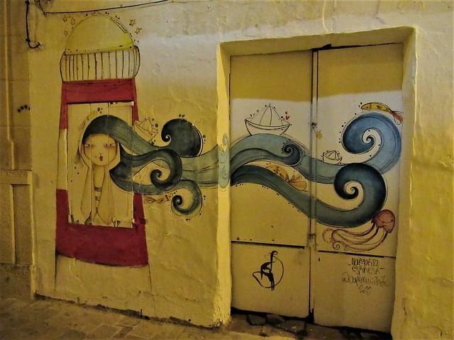Sea mural at night, street painting, Ciutadella, Menorca, Spain