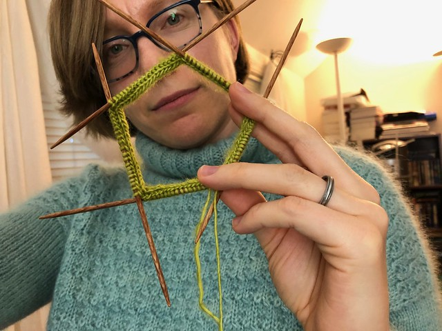Making a star, step 3: 19 stitches on each of 5 needles, picked up from the i-cord
