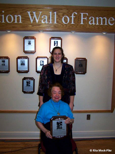"""Rita with Jerrie at the """"Wall of Fame"""" induction ceremony, Tallahassee, Florida, 2007. From Move Over Amelia, That's My Grandma's Place in History – Celebrating the First Woman to Fly Around the World"""