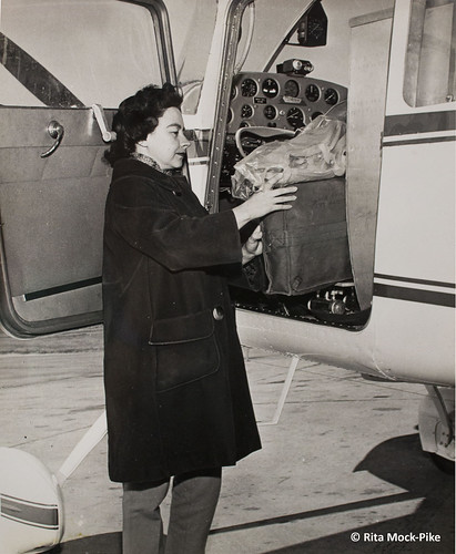 Jerrie packs the cockpit. From Move Over Amelia, That's My Grandma's Place in History – Celebrating the First Woman to Fly Around the World