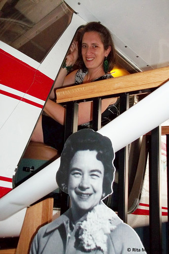 Rita in the plane modeled after Jerrie's Cessna at The Works, Newark, Ohio. From Move Over Amelia, That's My Grandma's Place in History – Celebrating the First Woman to Fly Around the World