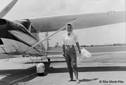 Jerrie before taking off from Wake Island, round-the-world flight. From Move Over Amelia, That's My Grandma's Place in History – Celebrating the First Woman to Fly Around the World