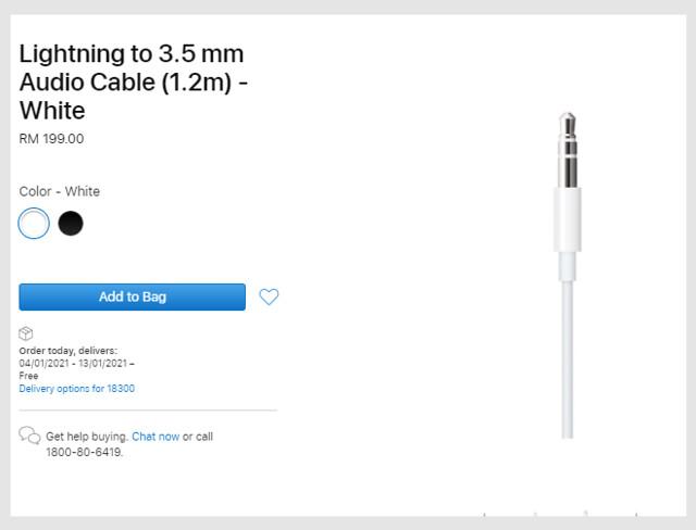 Kabel 3.5Mm Ke Lightning Dari Apple Kini Boleh Didapati, Berharga Rm199