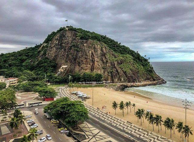View from the rooftop bar of the Arena Leme Hotel, Rio de Janeiro, Brazil