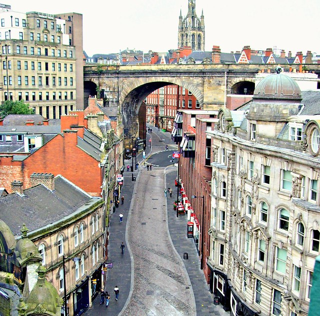 Looking down on a Newcastle street