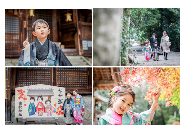 愛知県豊田市の猿投神社で七五三 7歳の女の子と5歳の男の子