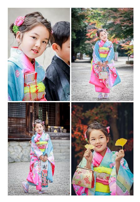 七五三 7歳の女の子 イチョウの葉を持ってポーズ
