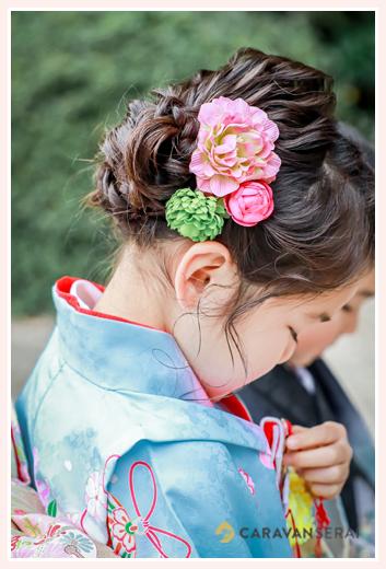 7才の女の子の七五三 髪形・ヘアスタイル 髪飾り