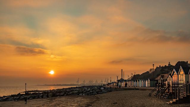 Sunset Over Felixstowe Beach