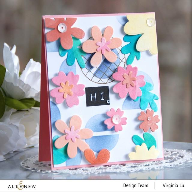 Altenew-Mega Label Love-Simple Nesting Flowers Layering Die-Modern Circles Stencil-Friendly Circle Stamp Set