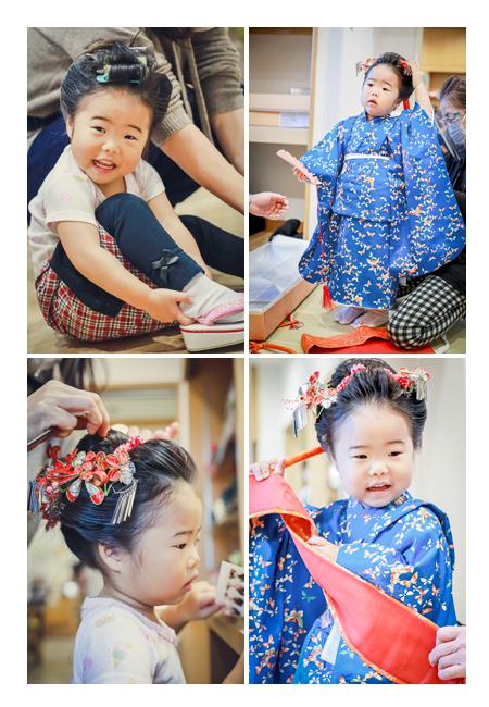 七五三 3歳の女の子 お支度シーン(日本髪と着付け)