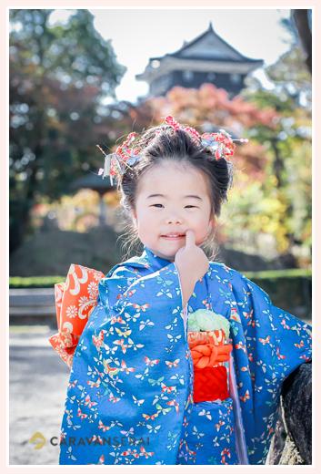 龍城神社で七五三 岡崎城をバックに記念撮影