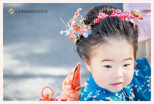 3才の女の子の七五三 日本髪を結って