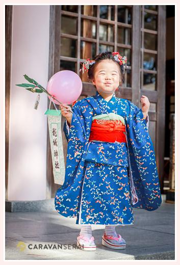 七五三 龍城神社へお参り 愛知県岡崎市 ブルーのお着物