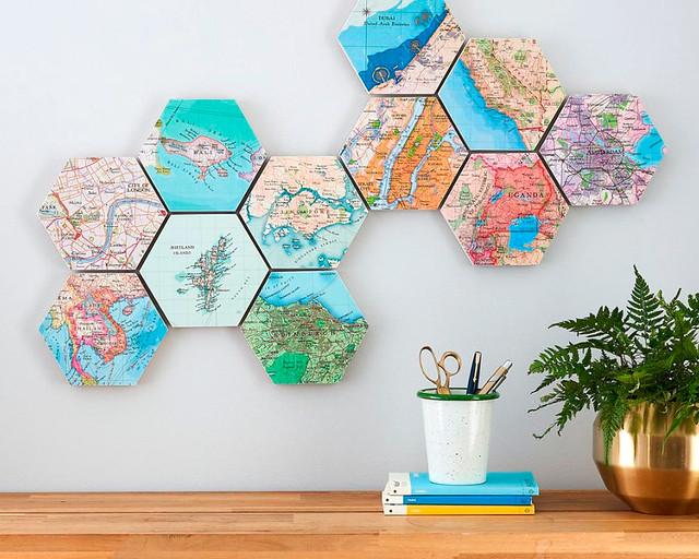 Mapamundi con forma de hexágonos para colgar en la pared