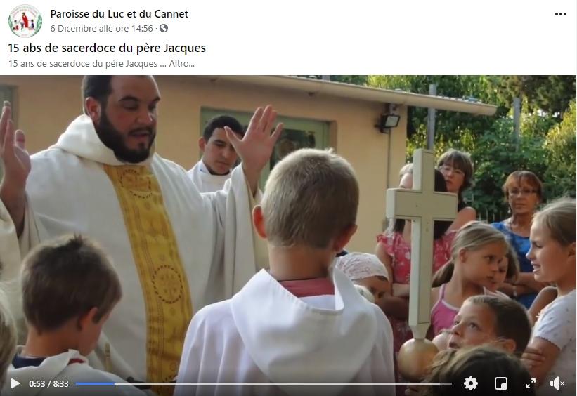 FRANCIA: 15° aniversario de ordenación del P. Jacques. Los niños de la parroquia le hicieron un video en acción de gracias