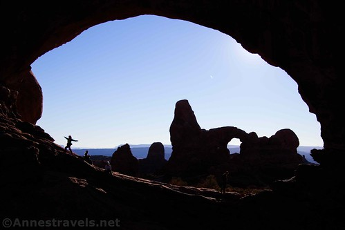 Turret Arch through the North Window in the afternoon, Arches National Park, Utah