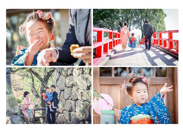 龍城神社・岡崎公園で七五三 家族の後ろ姿