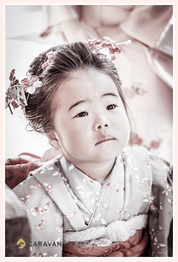 七五三 3歳の女の子 日本髪を結って