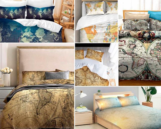 Colchas para la cama con mapa del mundo