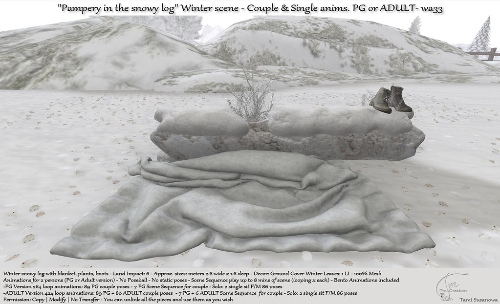 ".:Tm:.Creation ""Pampery in the snowy log"" Winter scene wa33"