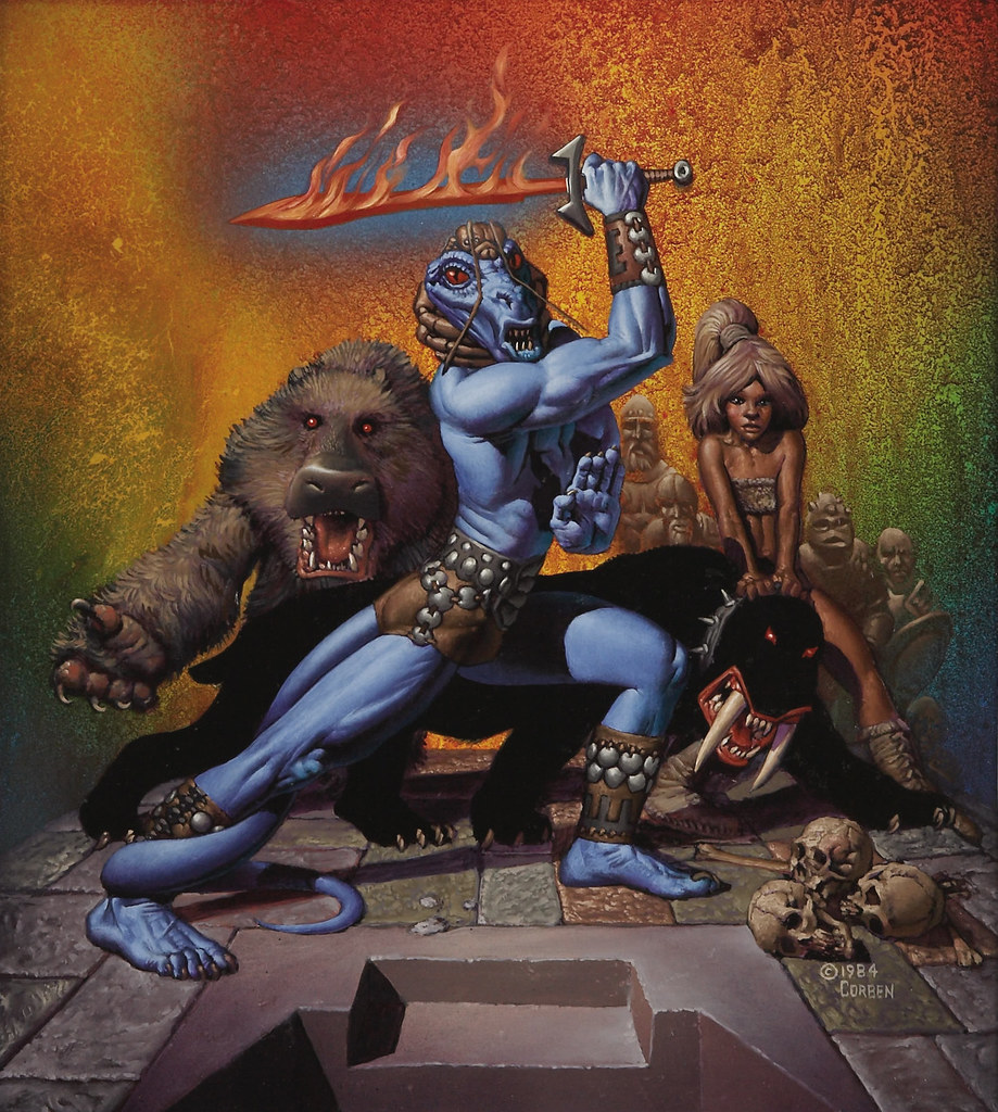 """Richard Corben - """"Island of the Lizard King"""" Paperback Cover Painting, 1985"""
