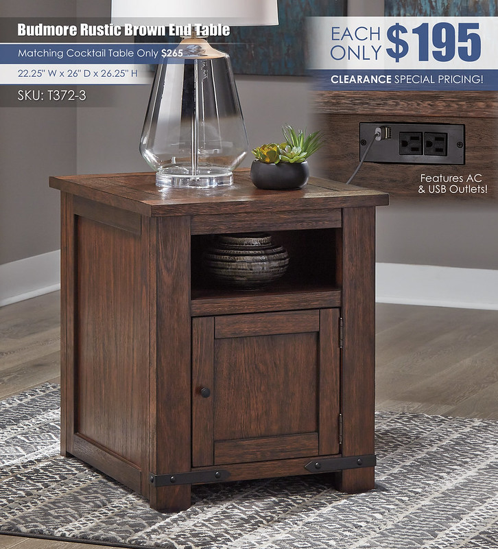 Budmore Rustic Brown End Table_T372-3