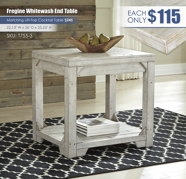 Fregine Whitewash End Table_T755-3