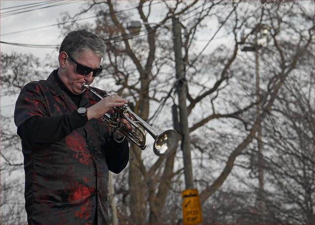 Tim Hamel; the trumpeter.  Trinity Bellwoods Park