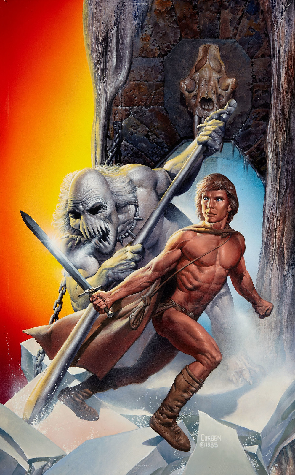 Richard Corben - Sagard the Barbarian Gamebook #1 The Ice Dragon Cover, 1985